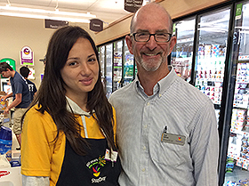 Dick Clifford, General Manager of the Stop and Shop near Nantucket Harbor, with Lavinia from Romania.