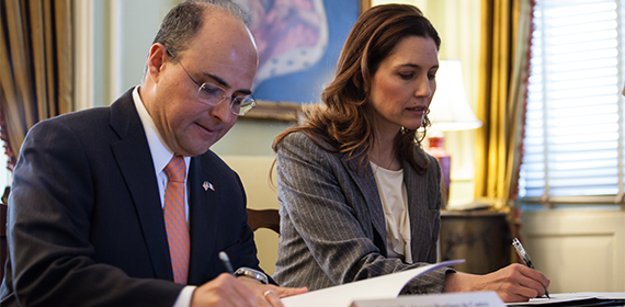 Assistant Secretary of State Evan Ryan and Undersecretary for North American Affairs for the Government of Mexico Sergio M. Alcocer Martinez de Castro signing the letter of intent.