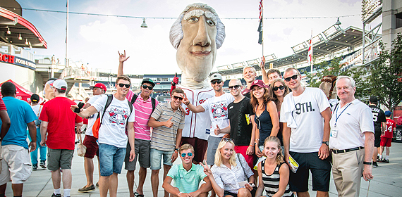 J-1 exchange visitors pose with George Washington – one of the Running Presidents at Nats Park. (Photo credits to Kevin Morgan)