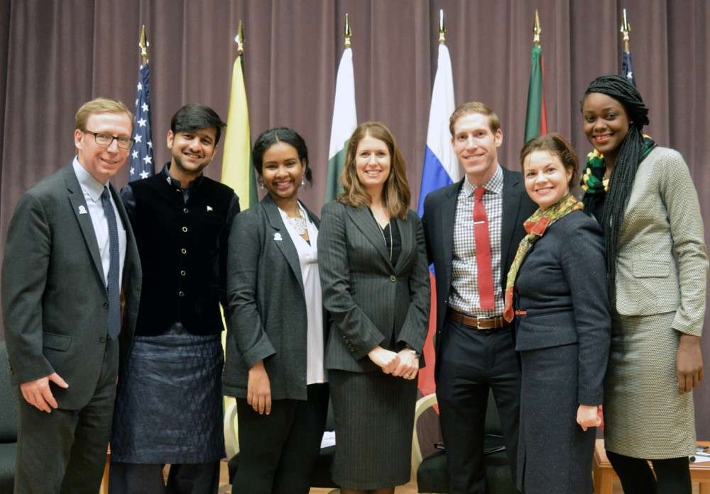 Deputy Assistant Secretary Robin Lerner with EGLI Corps Fellows (From left to right) Atlas Corps CEO Scott Beale, Fellow Farhad Ahmed Jarral, Fellow Mayada Hassanain Osman, Deputy Assistant Secretary Robin Lerner, Special Advisor for Global Youth Issues Andy Rabens, Fellow Olga Smolenchuk, and Fellow Anna-Kim Robinson.