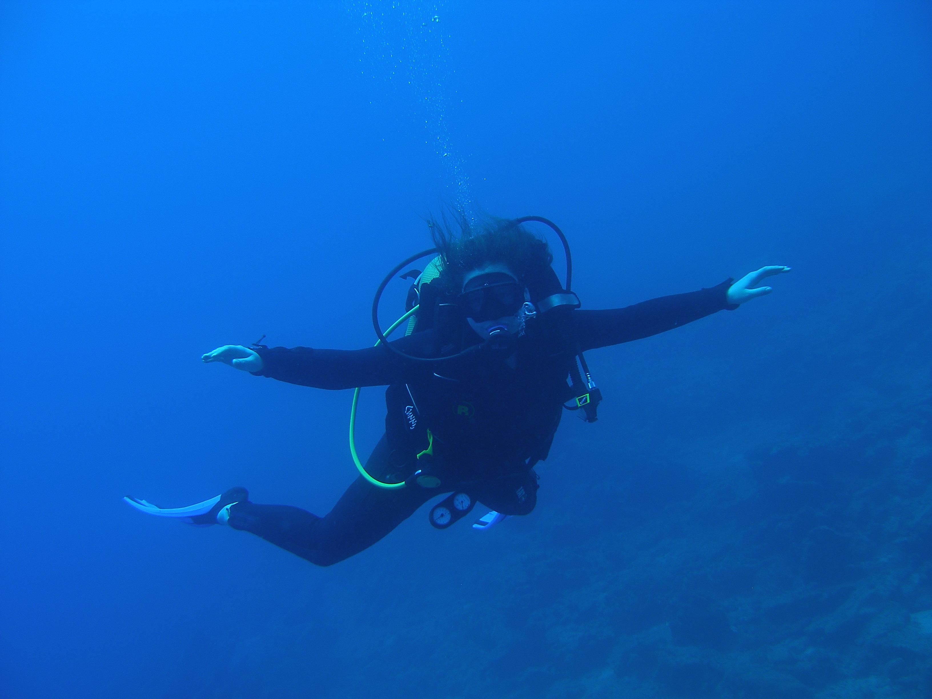Mariliis Eensalu diving in the Mediterranean Sea.
