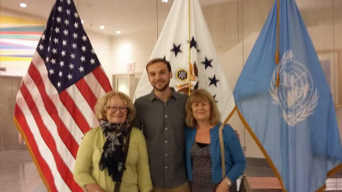 Liam Godbert Brown with his Nan and Aunt at New York City Marathon Welcome Reception for J-1 Volunteers hosted at United Nations.