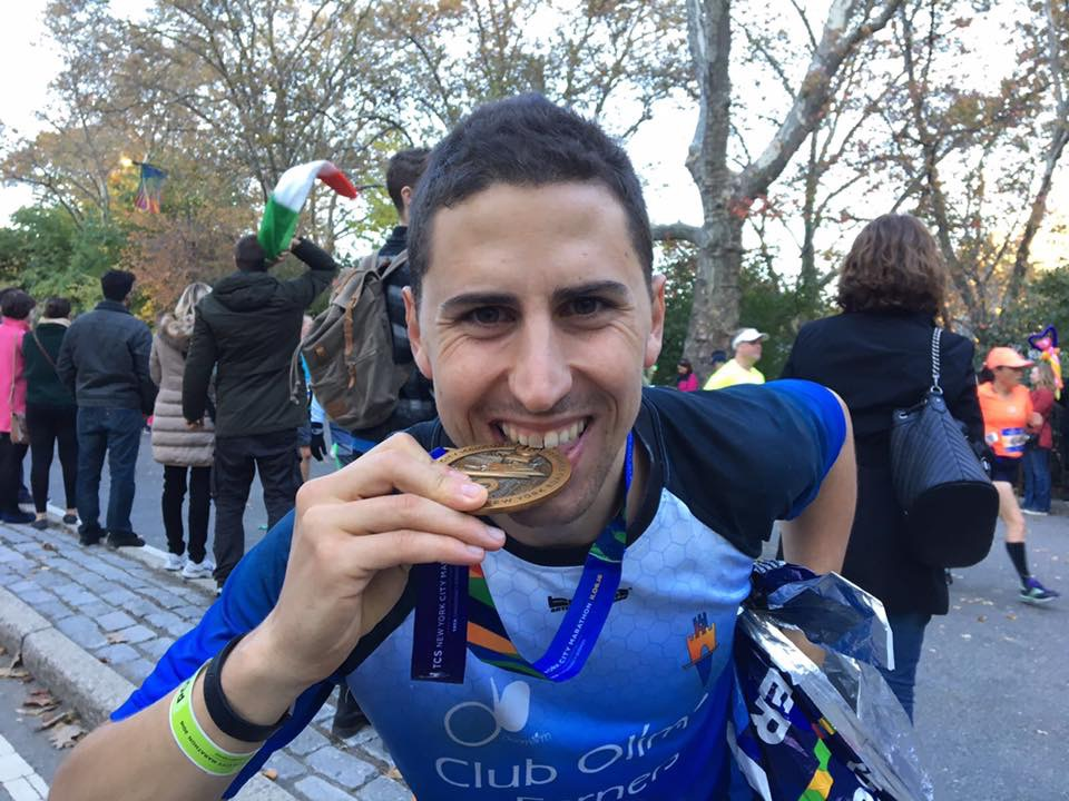 Victor Da Costa shows off his New York City Marathon medal.