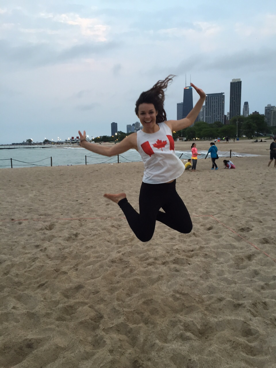 Camille celebrating Canada Day on the beach in Chicago.