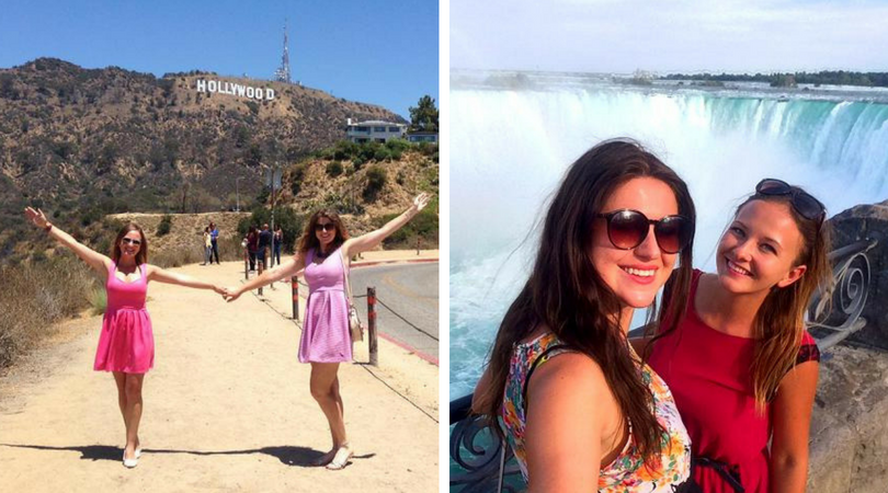 Left: Beata and Adriana pose for a picture in front of the Hollywood sign in California | Right: They visit Niagara Falls.