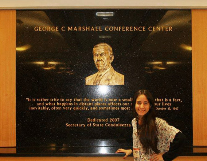 Ariana in the George C. Marshall Conference Center at the U.S. Department of State.