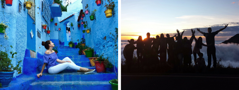 Woman sitting on blue steps (left) and Group of people enjoying sunset in background (right)