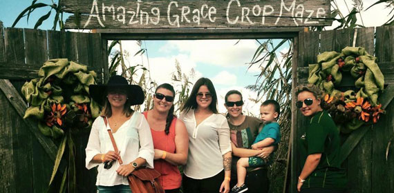 Au pair and family at corn maze