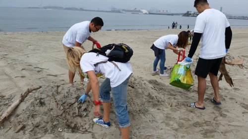 Group of young people picking up debris from a shoreline