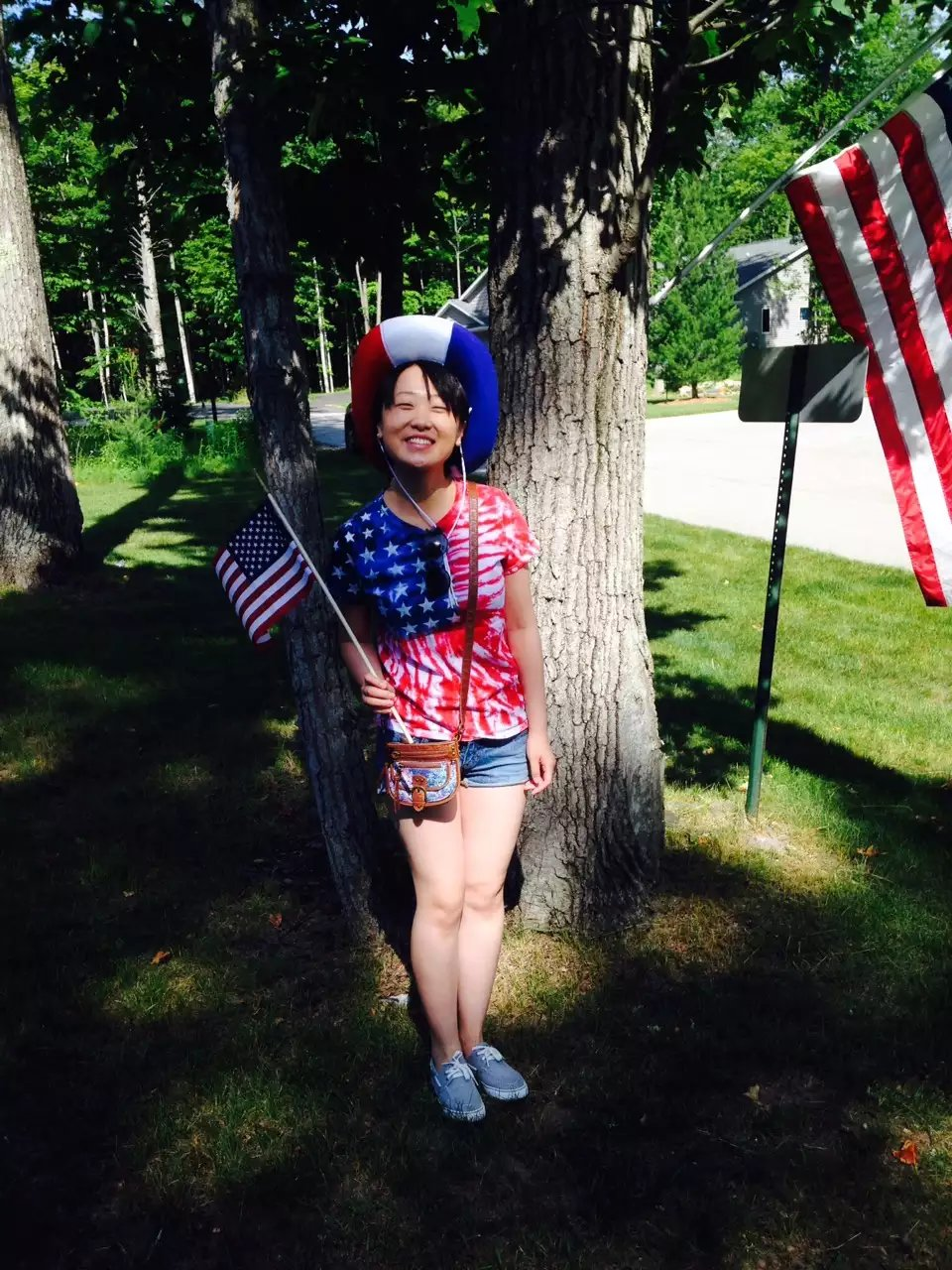 Wen celebrating the 4th of July in Baileys Harbor, Wisconsin.