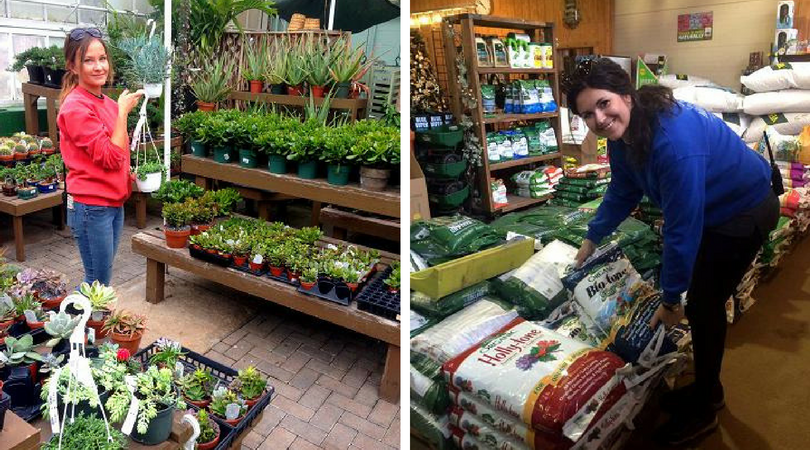 Left: Beata taking care of indoor plants | Right: Adrianna moving fertilizer bags