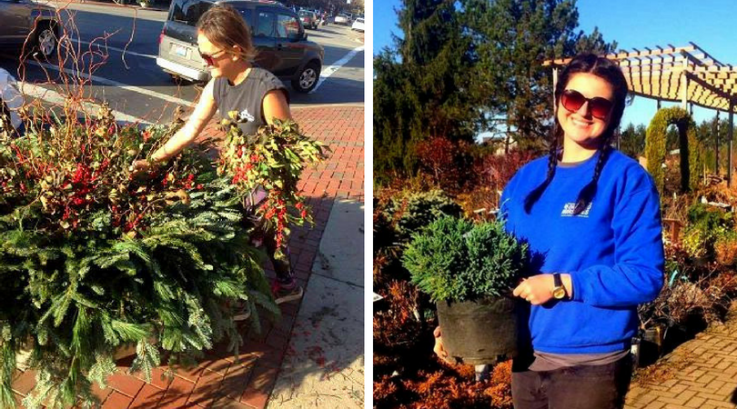 Left: Adrianna helps customers pick a plant. | Right: Beata makes Christmas decorations in downtown Delaware, Ohio.