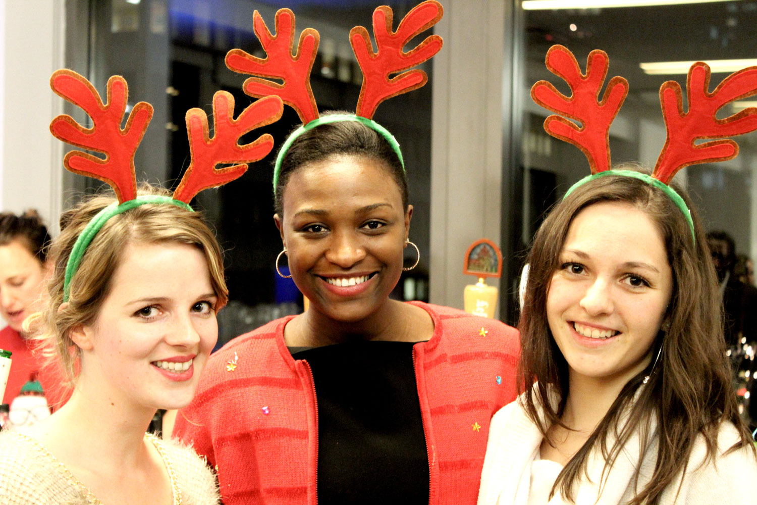 Stephanie (left) attends German American Chamber of Commerce Christmas party for J-1 interns.