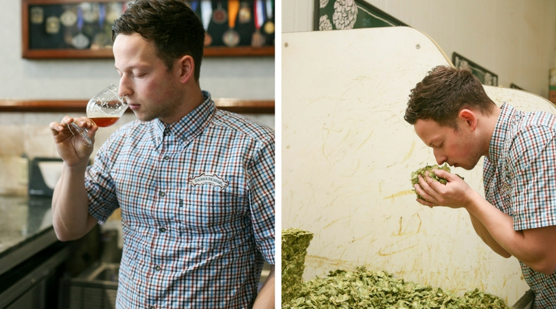 Young man in plaid shirt sipping beer from a glass next to another picture of the young man smelling a handful of hops